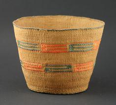 "Tlingit Basket with Orange and Blue  Turn of the Century   7 "" x 5.25 ""  4,500. dollars"