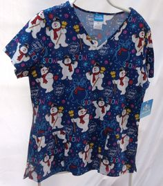 3d7ce98c20c NEW Frosty the Snowman Womens Medium Scrub Top Let It Snow Snowflake  Christmas in Clothing, Shoes & Accessories, Uniforms & Work Clothing, Scrubs,  Tops