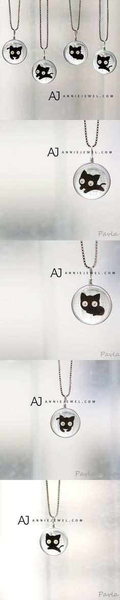 CUTE CUTE KITTY! SILVER NECKLACE GLAZE GLASS BALL PENDANT CHARM NECKLACE GIFT JEWELRY CUTE