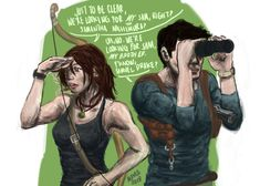 "mjaravata: ""one hell of a misunderstanding "" Tomb Raider Cosplay, Tomb Raider Lara Croft, Dog Games, Funny Games, Laura Croft, Nathan Drake, Video Game Memes, Gurren Lagann, Comic Games"