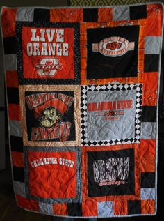 OSU Cowboys T-shirt Quilted Throw on Etsy, $117.00  www.facebook.com/jerseymagicquilts