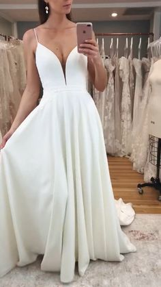 The FLEUR gown in Ivory by Madi Lane Bridal dresses simple satin wedding dress Maxi Dress Wedding, Wedding Dresses Plus Size, Modest Wedding Dresses, Bridal Dresses, Gown Wedding, Maxi Dresses, Wedding Shot, Preppy Wedding Dress, Cruise Wedding Dress