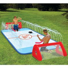 Enjoy a game of backyard hockey action with the Wham-O Water Knee Hockey set. It features a hockey rink with Hydro glide technology for ease of use. Included with this knee hockey rink are hockey sticks, pucks and inflatable goals. It is easy to set up and take down for your convenience.