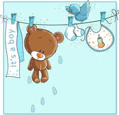 Cute bears baby cards design vector 01