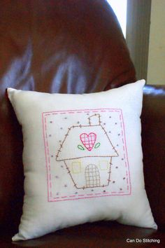 Primitive Stitchery Pillow Heart and Home by CanDoStitching, $15.00