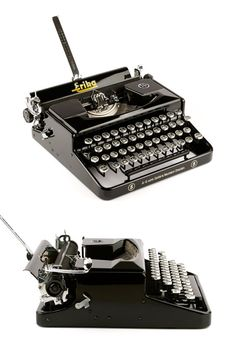 The portable typewriter Erika 5 was produced by Seidel & Naumann around 1939/40 in Germany. Seidel & Naumann is one of the most popular german manufacturers for typewriters with a high quality standard. They produced a wide range of solid machines from 1910 to 1991. The Erika 5 is a rare and sleek typewriter with elegant glass keys. I like the dimensions of the machine a lot – its actually much smaller and compact than supposed. The little Erika looks beautiful from any angel. Th...