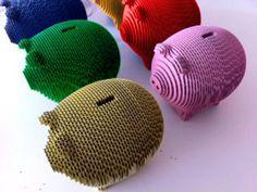 PIGGHI SODDI - Corrugated Cardboard Piggy Bank from gaBotte by DaWanda.com
