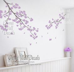 lilac cherry blossom wall decals vinyl floral wall sticker tree nursery wall mural children-girl nursery cherry blossom by cuma wall decals Nursery Wall Murals, Nursery Wall Stickers, Kids Wall Decals, Nursery Room, Girl Nursery, Girl Room, Tree Decals, Nursery Ideas, Room Ideas