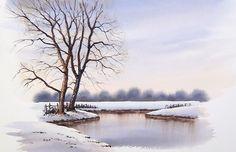 Simple Snow Scene by Geoff Kersey coming soon to ArtTutor.com