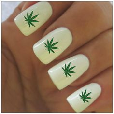 Nail Decals Cannabis Leaf Marijuana 40 Water Slide by NailPretties, $3.95