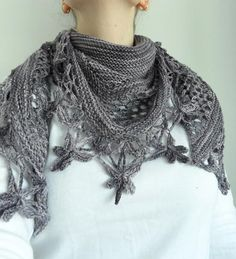 tricot crochet and knitted shawl
