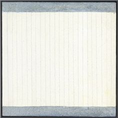 Agnes Martin loved painting lines but it is quite rare for them to be vertical rather than horizontal.