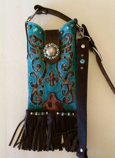 Western Leather Cowboy Boot Key Chain Cowgirl Accessory Lighter or Lipstick Case