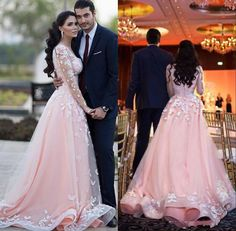 2017 Appliques A-line Evening Prom Party Dress Long Sleeve Celebrity Formal Gown