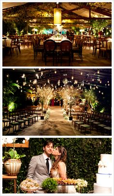 Hanging lights turn this dreamy evening wedding reception into a fairy tale.