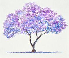 Jacaranda Tree Painting Art Print by Jan Matson - Diy - Painting Love Watercolor Trees, Watercolor Paintings, Tree Paintings, Tatoo Tree, Purple Trees, Oil Painting Abstract, Painting Art, Painting Flowers, Tree Painting Easy