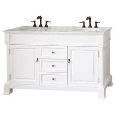 Bellaterra Home 60-in White Bellaterra Double Sink Bathroom Vanity with Top