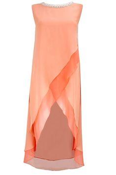 Peach asymmetric layered tunic available only at Pernia's Pop-Up Shop. by leila Punjabi Dress, Pakistani Dresses, Indian Dresses, Indian Outfits, Kurta Designs, Blouse Designs, Salwar Kameez, Indian Designer Wear, Simple Dresses