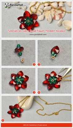 How to Make Glass Bead Flower Pendant Necklace The main materials of the necklace are heart glass charm pendants, bicone glass beads and seed beads. The making way is to thread the beads into a flower shape.