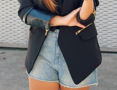 Black blazer with leather sleeves & zippers + high denim shorts +