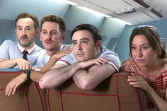The flight attendants (from left, Carlos Areces, Raúl Arévalo, Javier Cámara, with Lola Dueñas) lip-synch to a certain Pointer Sisters song in willfully silly I'm So Excited!.