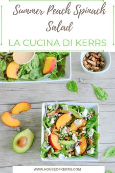 Summer Peach Spinach Salad - La Cucina di Kerrs | Summer Salads | Summer Menu Ideas | Peach Recipes | Easy Meals | Salads for Bridal or Baby Shower #easyrecipe #saladrecipes #peaches