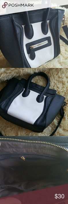 Black white mini cross body bag Celine smile Brand new bag,   can fit in it  iPad. Faux leather will ship out within 1-2 business days. I have other colors. Bags