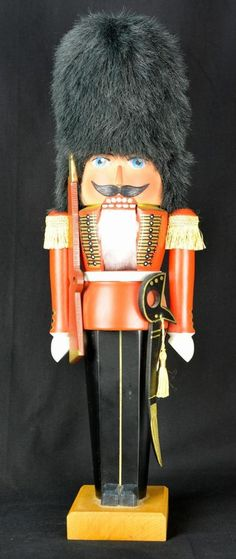 """Vintage Matthes Wooden Nutcracker Guard Soldier West Germany 16.5"""" +Tag Signed #Matthes"""