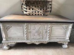 It was painted with 'fluff' then a layer of . Gray Painted Furniture, Distressed Furniture, Shabby Chic Furniture, Furniture Decor, Refinished Furniture, Cedar Chest Redo, Painted Cedar Chest, Amazing Gray Paint, Buffet