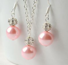 Bridesmaid jewelry set of necklace and earrings by LaurinWedding, $14.00