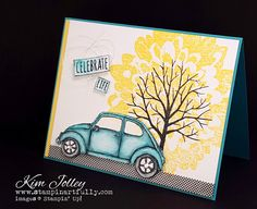 Definitely Dahlia background stamp in Daffodil Delight with Sheltering Tree in front. Beautiful Ride car in Bermuda Bay
