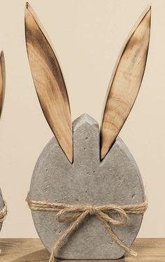 Hase Osterhase Dekofigur Osterdeko grau Beton Holz Aufsteller 23 cm in Möbel & Wohnen, Feste & Besondere Anlässe, Jahreszeitliche Dekoration, Osterdekoration | eBay