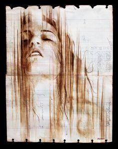 Les portraits au café sur du vieux papier de Michael Aaron Williams.