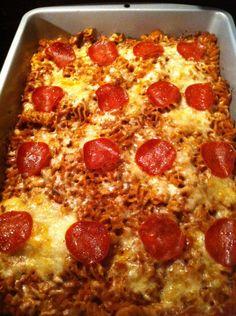 WW pizza pasta casserole recipe - kid favorite