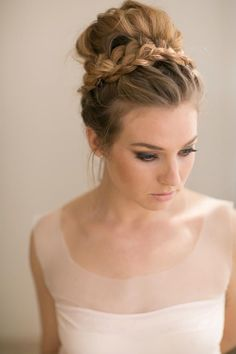 Voluminous High Bun with Braided Crown | 21 Fabulous Bridal Hairstyles for an Exquisite Summer Wedding