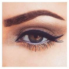 brown and gold smokey eye ~ we ❤ this! moncheriprom.com | Prom Makeup... ❤ liked on Polyvore featuring beauty products