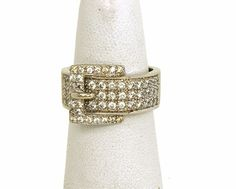 GORGEOUS 14K GOLD DIAMONDS LADIES BUCKLE TOP BAND RING