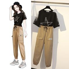 Women Summer O-neck Short Sleeve Casual Stripe Slim Knitted T-shirt + High Waist Ripped Cropped Pants Two Piece Set Kpop Fashion Outfits, Girls Fashion Clothes, Korean Outfits, Mode Outfits, Korean Girl Fashion, Korean Street Fashion, Ulzzang Fashion, Cute Fashion, Cute Casual Outfits