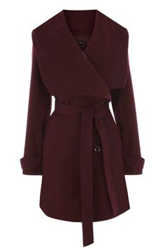 This long line coat has a cowl neckline with asymetric button detail and is belted at the waist. #autumncovered