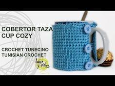 Tutorial Cobertor Tazas Crochet o Ganchillo Tunecino Cup Cozy - YouTube