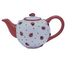 Ladybug Hearts Raised Ceramic 46 Oz Teapot New In Gift Box Burton BURTON