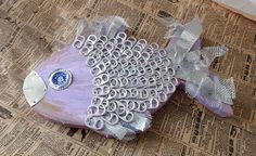 Items similar to Purple recycled pop tab fish wall hanging on Etsy Recycled Decor, Recycled Jewelry, Pop Can Tabs, Pop Tab Crafts, Driftwood Fish, Soda Tabs, Pop Cans, Fish Crafts, Beach Stuff