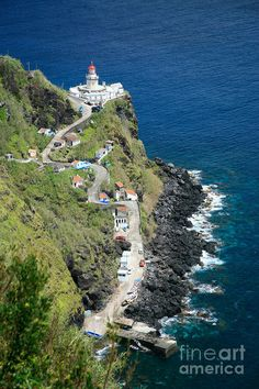 The lighthouse in the town of Nordeste, Azores (autonomous region of Portugal)