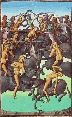 """""""Batalla de los espíritus malignos sobre caballos negros"""" (detalle). Por Maïtre François, circa 1475. http://iglesiadesatan.com/"""