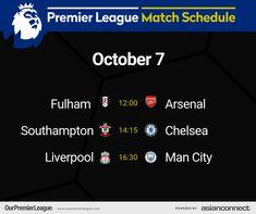 Match Schedule, Premier League Matches, Fulham, Southampton, Liverpool, Day