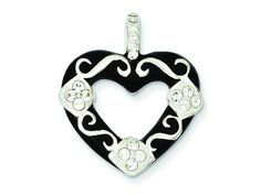 Sterling Silver Stellux Crystal/black Heart Pendant Necklace - Chain Included