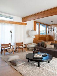 mid-century wood living room