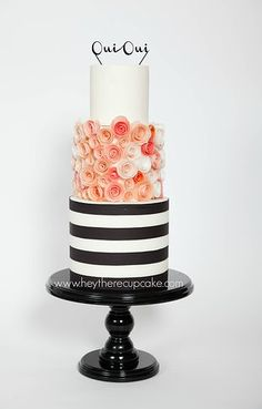 Black and white stripe, peach and coral wafer paper roses wedding cake - Parisian, elegant, lovely