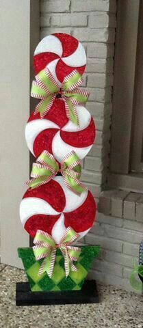 Christmas painted wood peppermint
