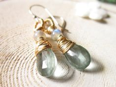 Moss Aquamarine Earrings 14K Gold Fill by thelittlehappygoose, $45.00